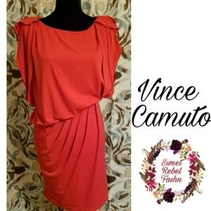 Vince Camuto Assymetrical coral Dress size xs